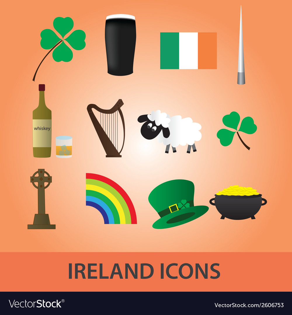 Ireland icons set eps10 vector