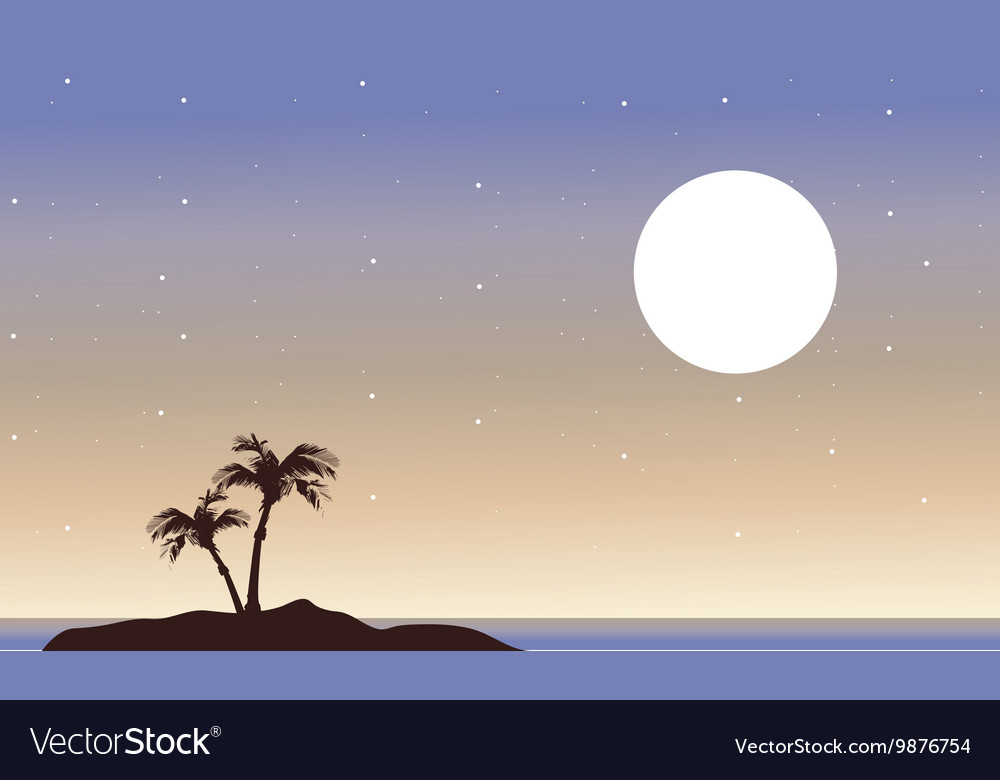 At night islands landscape of silhouette vector