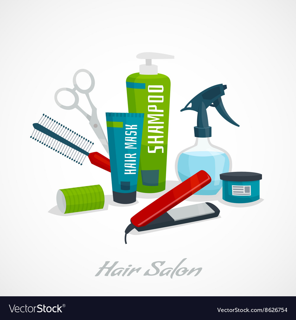Hair salon concept hair care tools composition vector
