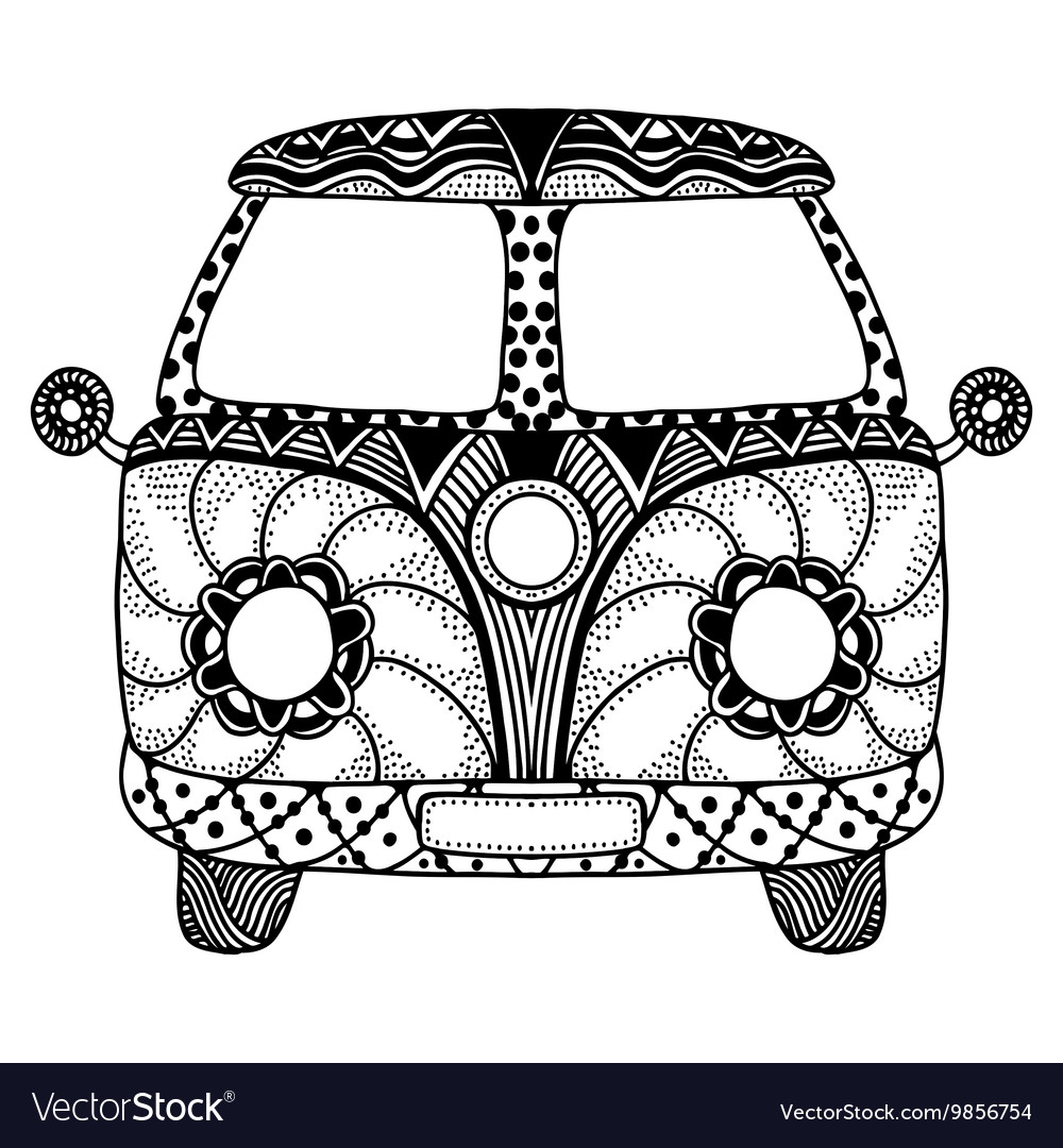 Hippie vintage car a mini van vector