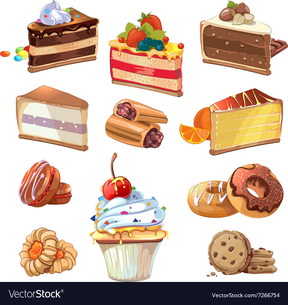 Pastry set in cartoon style vector