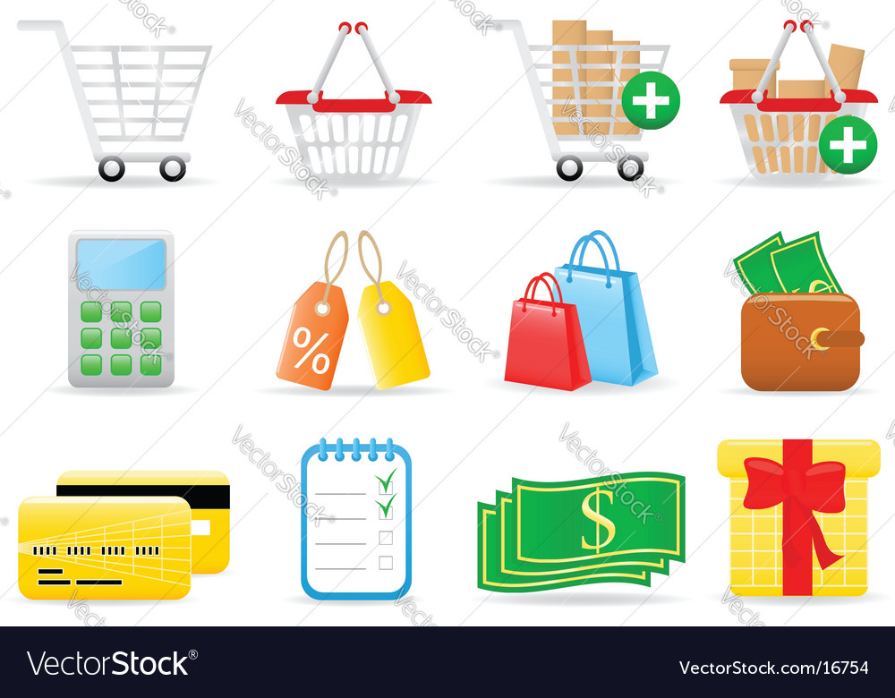 Shopping icons vector