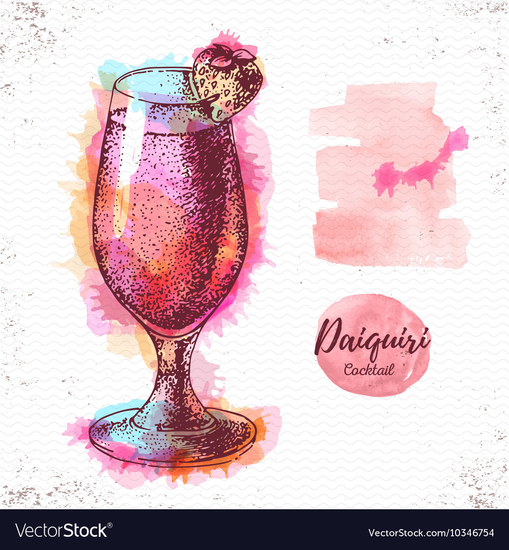 Watercolor cocktail daiquiri sketch vector