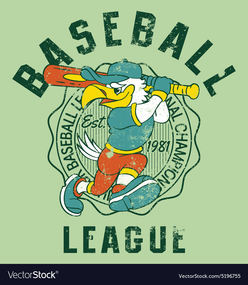Eagles kids baseball vector