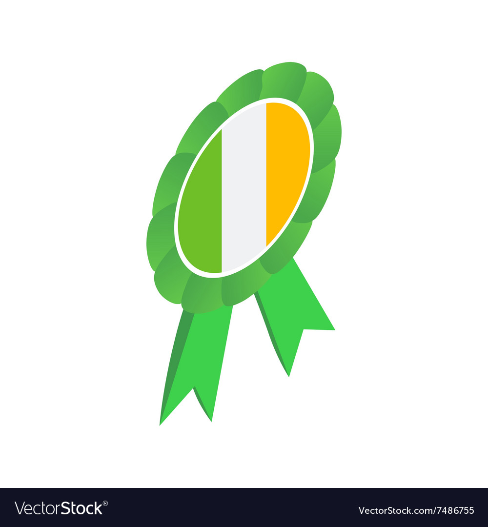 Ribbon rosette in irish colors isometric 3d icon vector