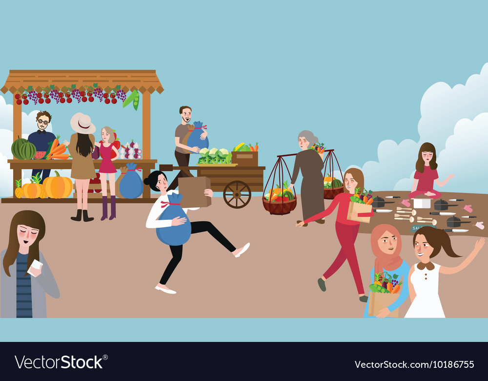Traditional open market activity busy people vector