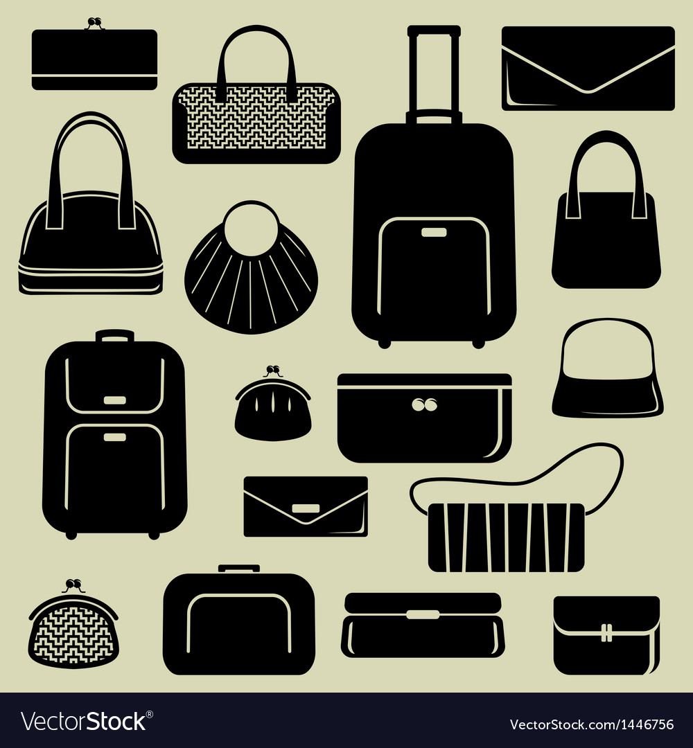 Bags suitcases icons set vector