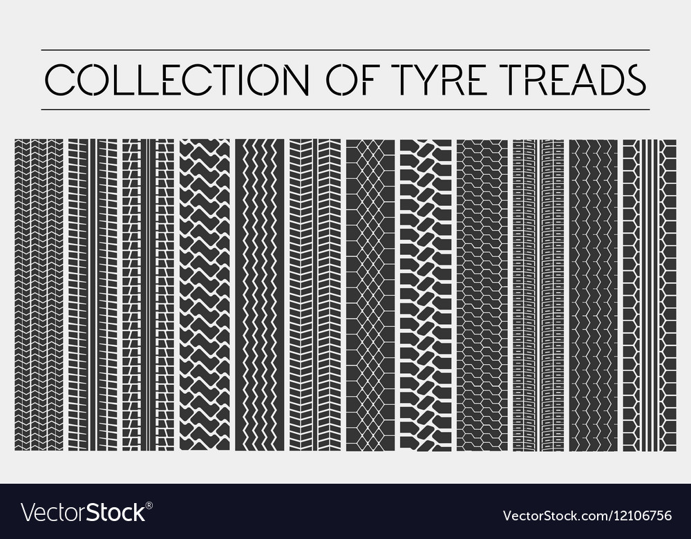 Wheel or tire tyre treads car tracks vector