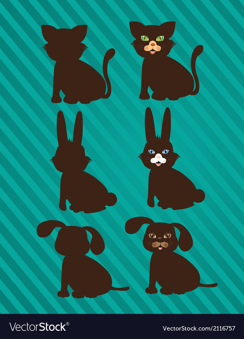 Set of silhouettes of domestic animals in two styl vector
