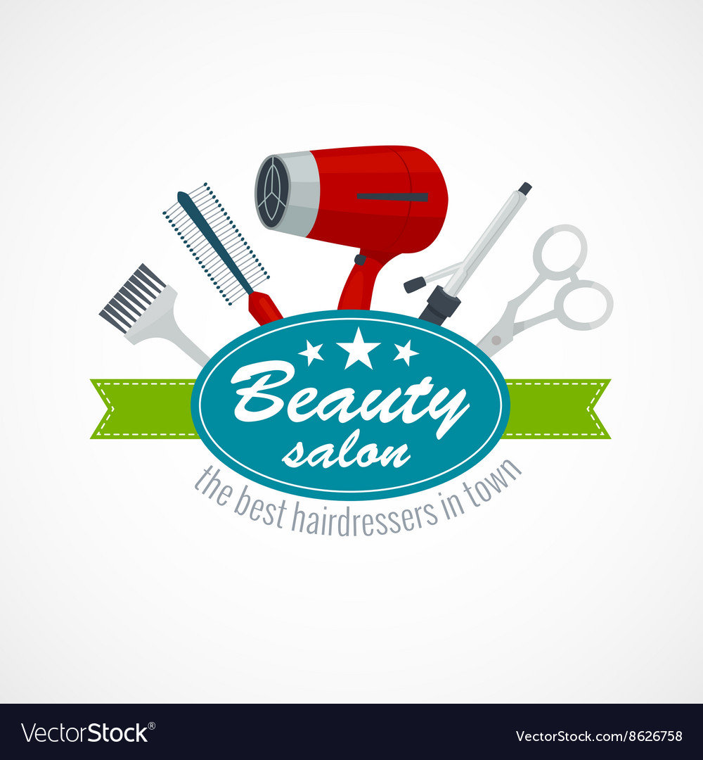 Beauty salon label with hair dryer scissors vector
