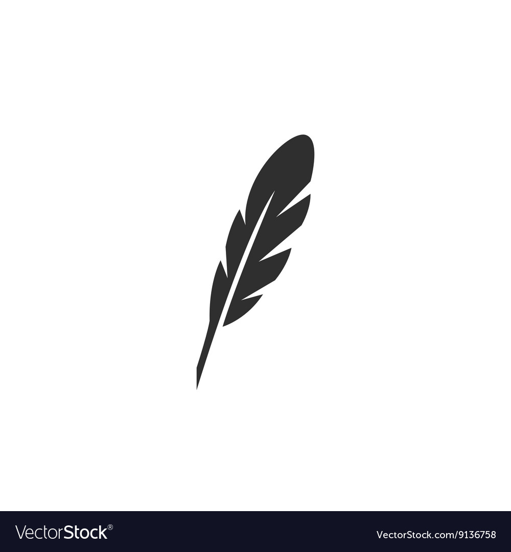 Feather icon logo on white background vector