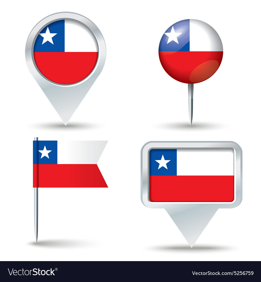 Map pins with flag of chile vector