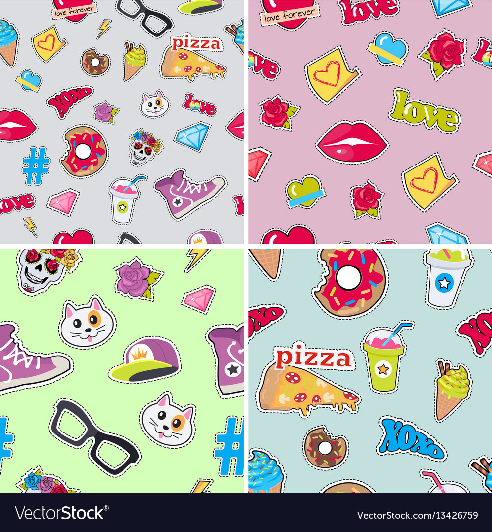 Seamless patterns set with patch objects for teens vector