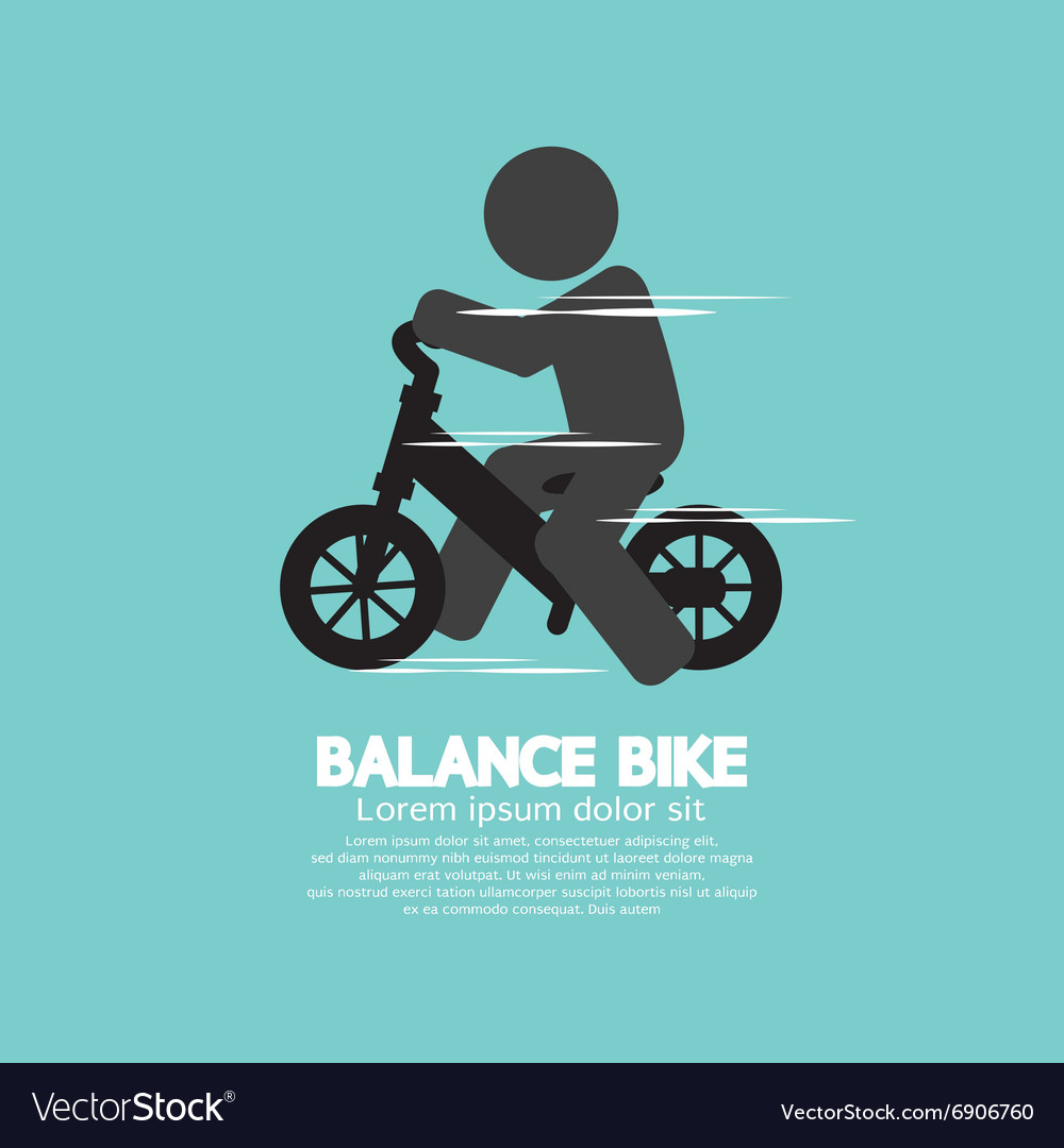 Balance bike black symbol vector