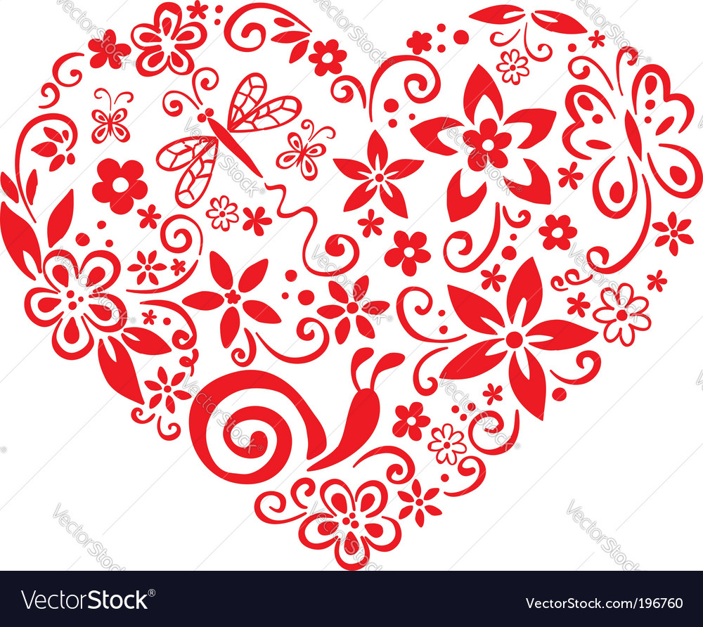 Blooming heart vector