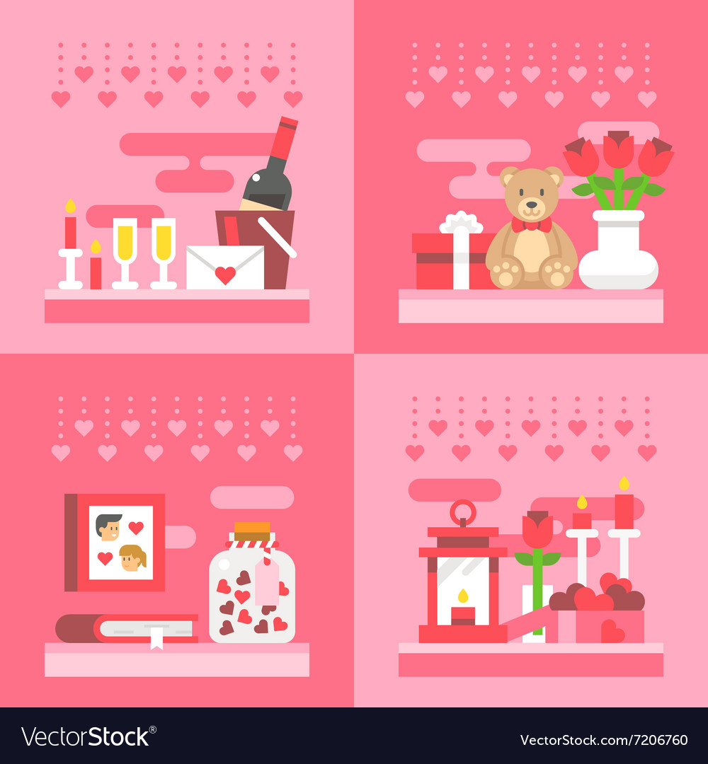 Flat design valentines day gift vector