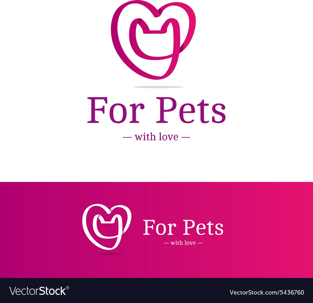 Pink ribbon sign cat head with heart vector