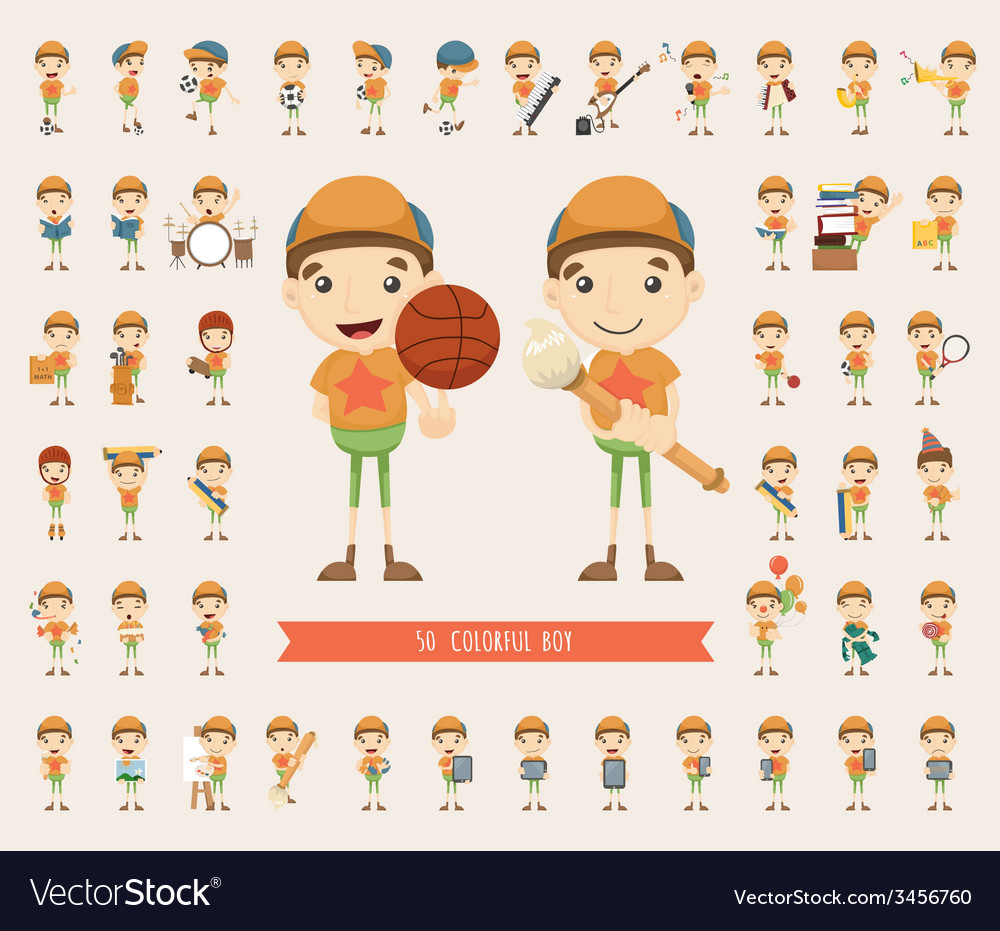 Set of boy character collection vector