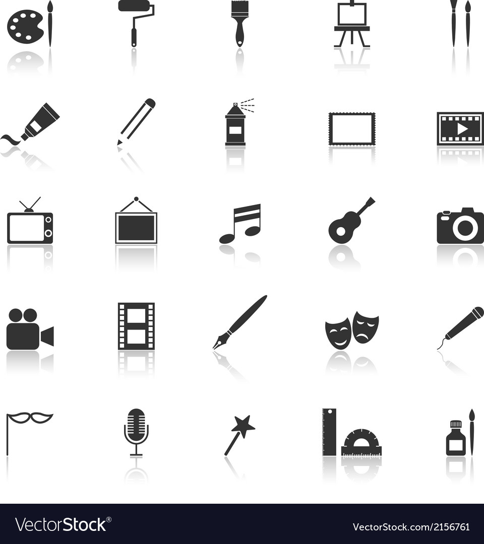 Art icons with reflect on white background vector