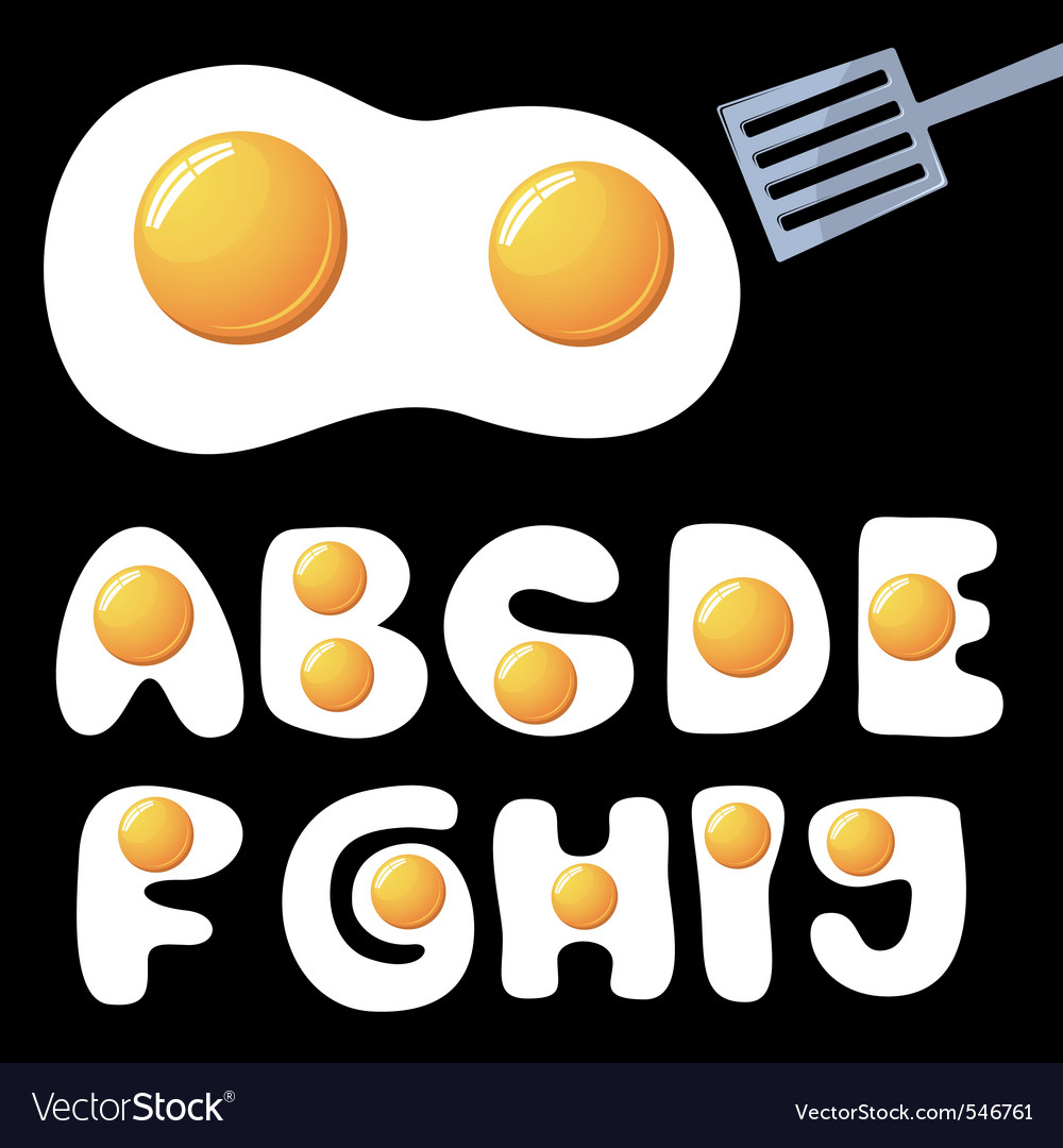 Fried eggs alphabet vector