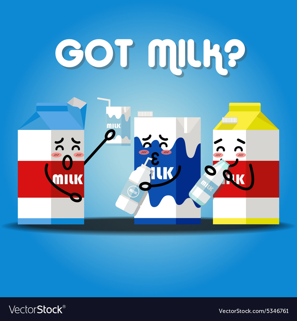 Milk cartons drinking milk using straw vector