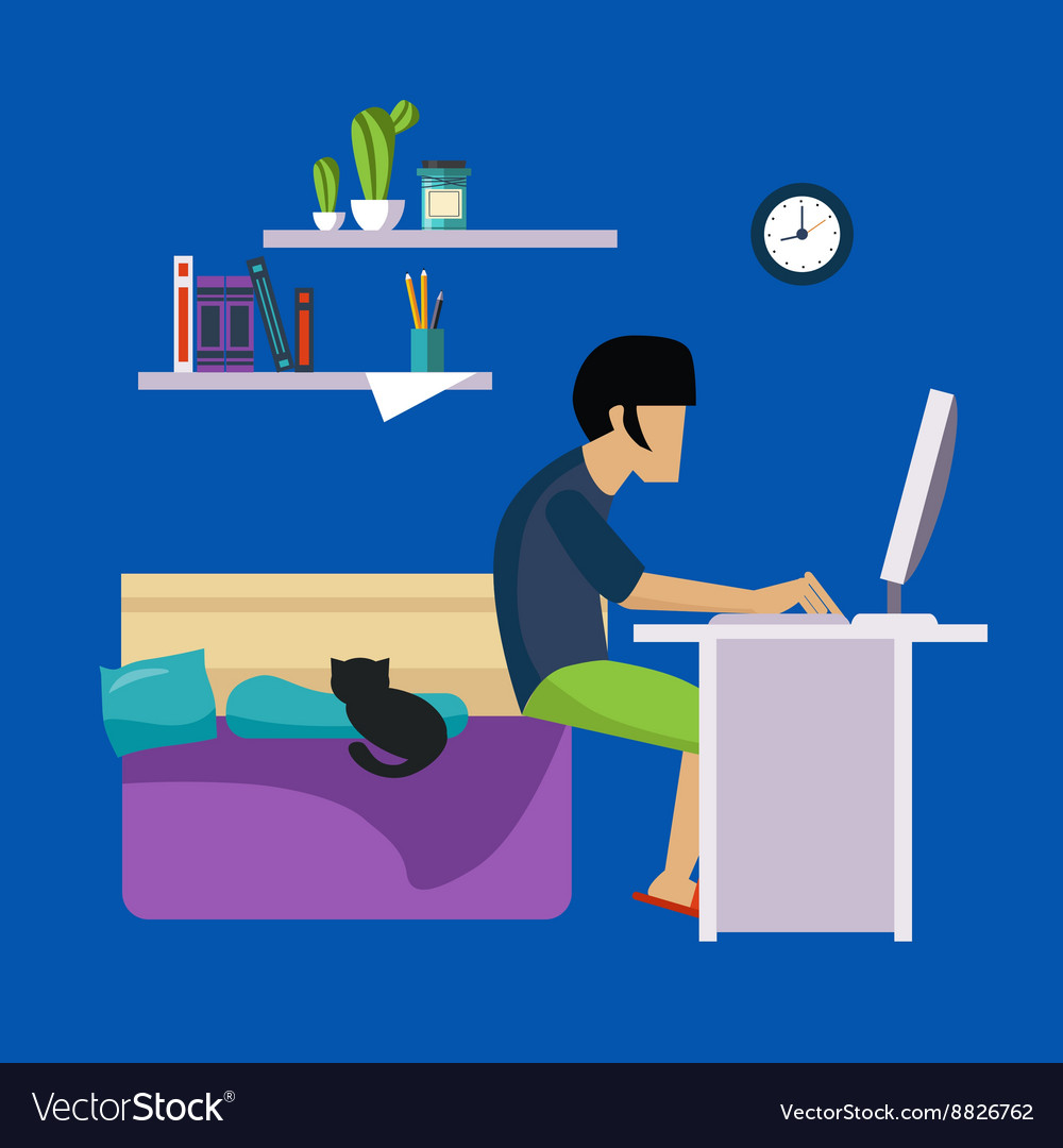 Guy in bedroom working freelance vector