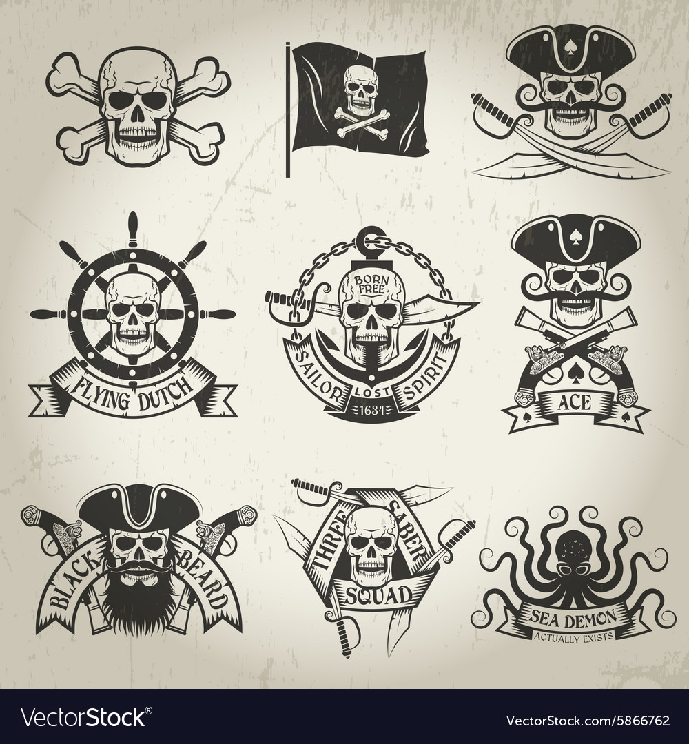 Pirate signs set vector