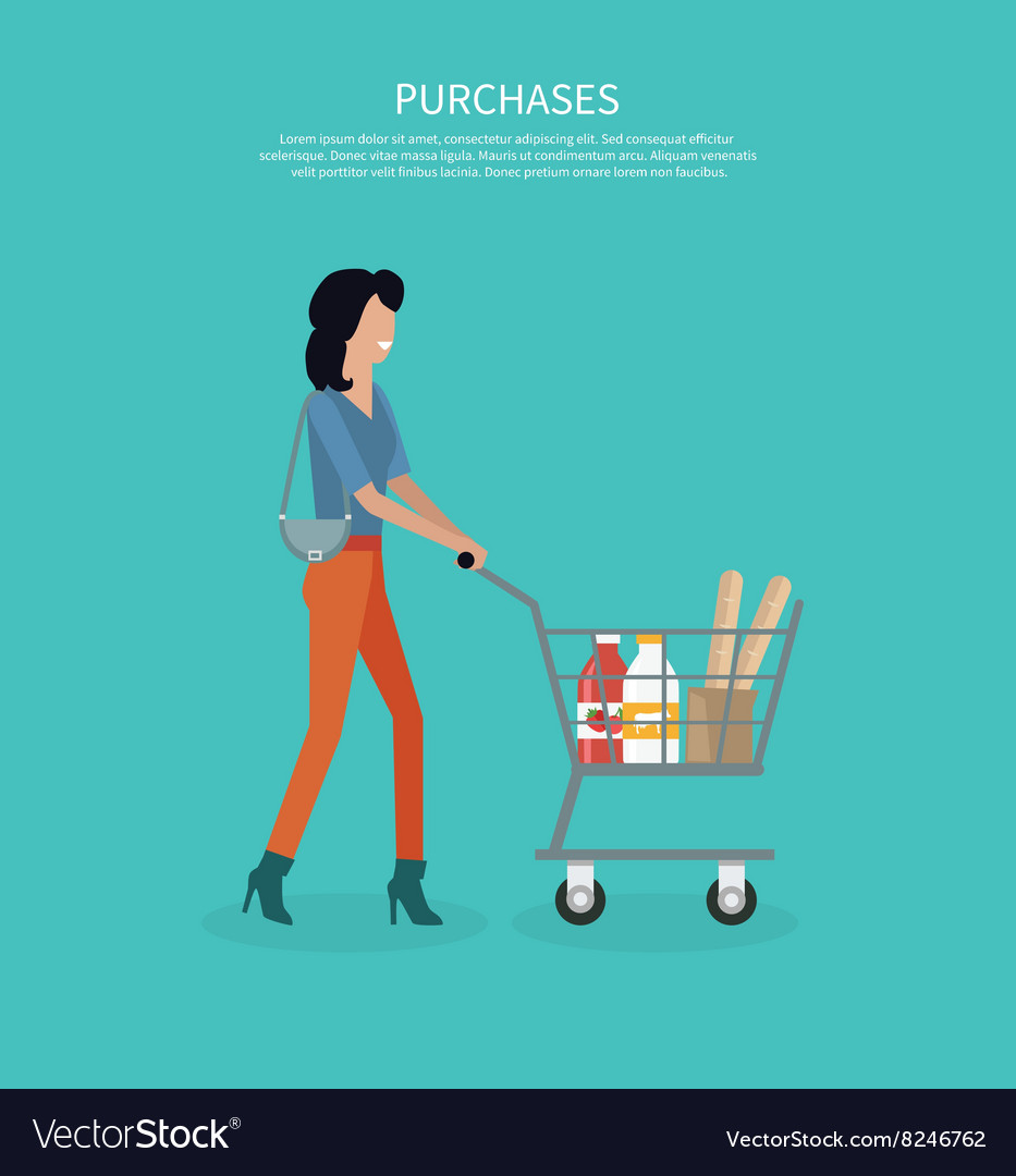 Woman with cart purchases design vector