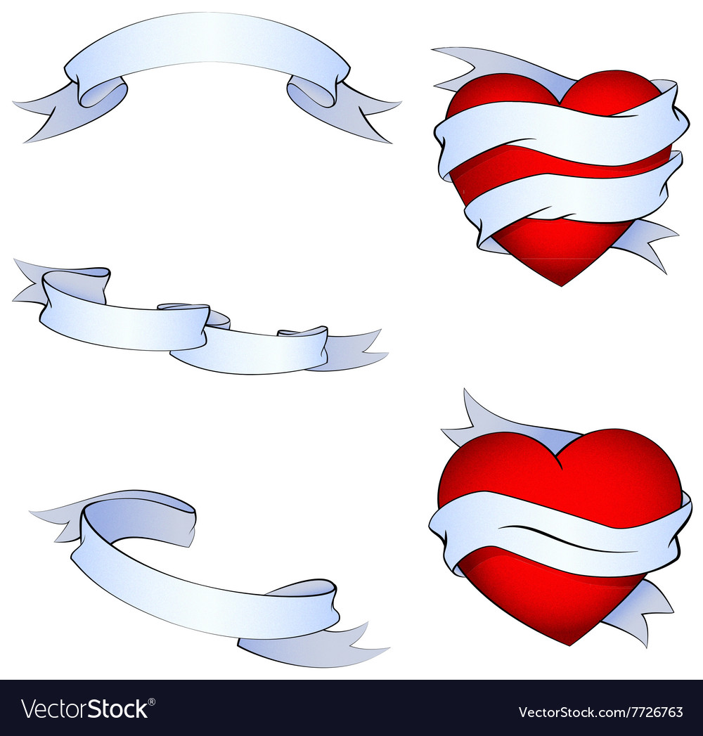 Oldschool tattoo hearts and ribbons set vector