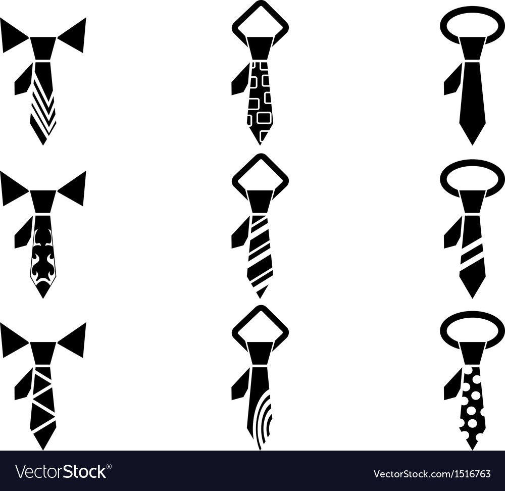 Tie icons set vector