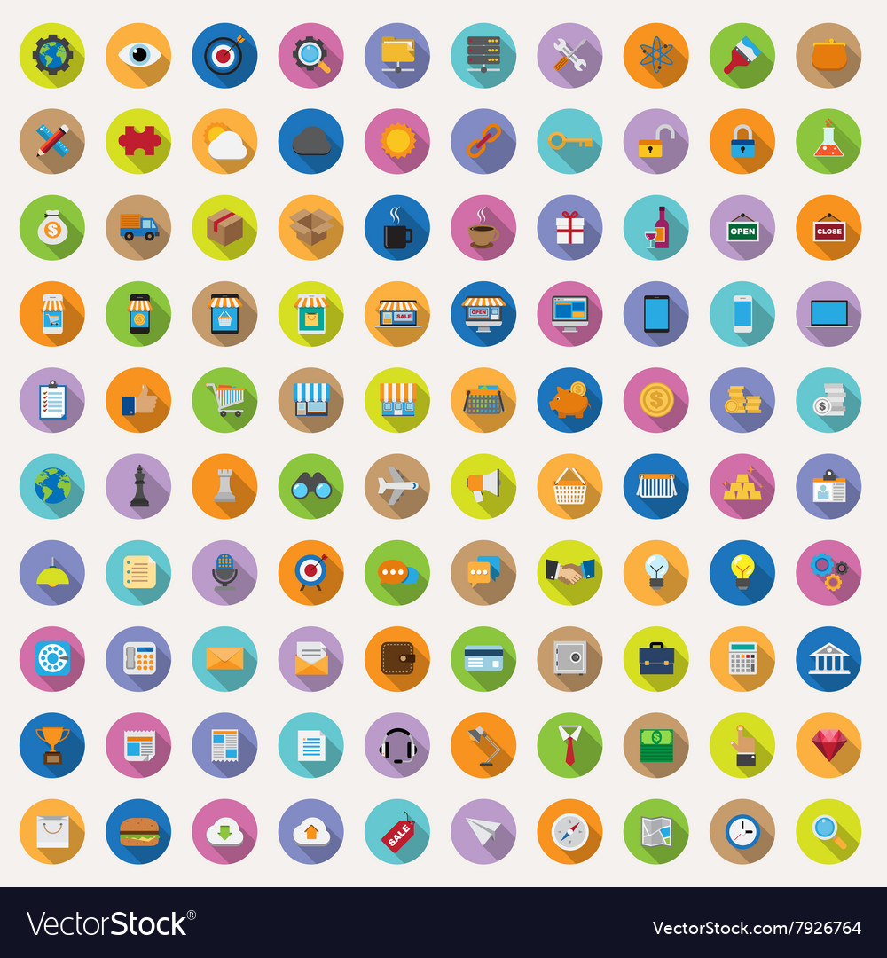 100 flat icons collection vector