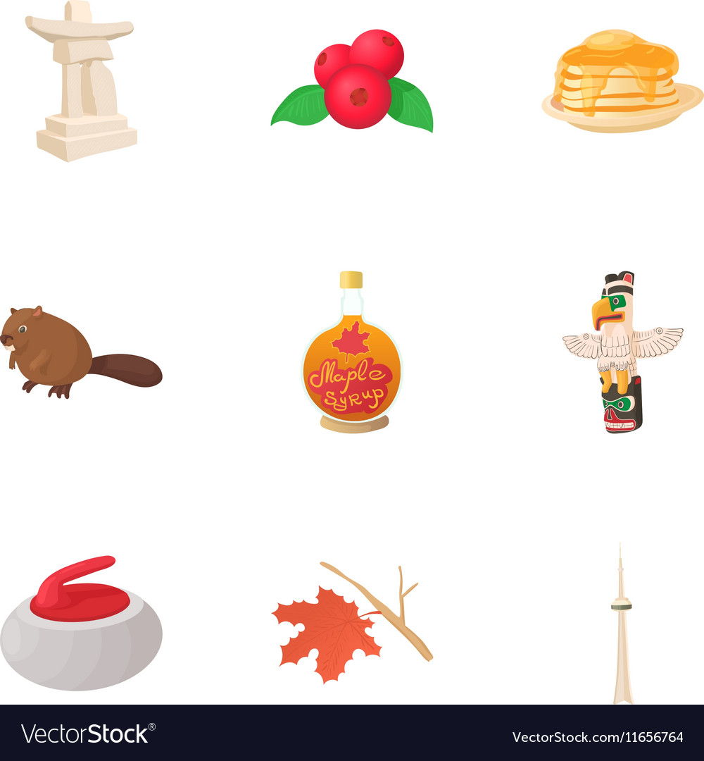 Holiday in canada icons set cartoon style vector