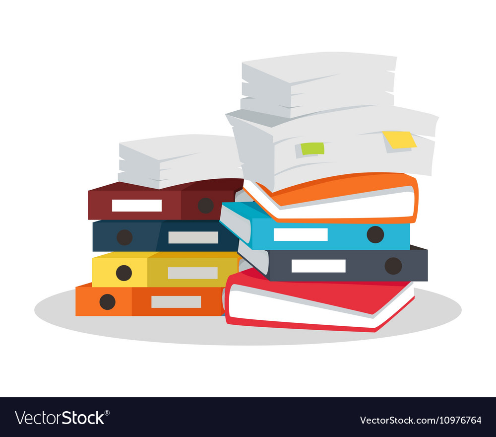 Stack of documents flat design on white vector