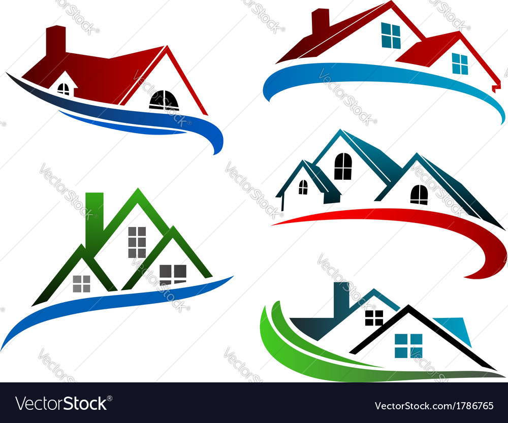 Building symbols with home roofs vector
