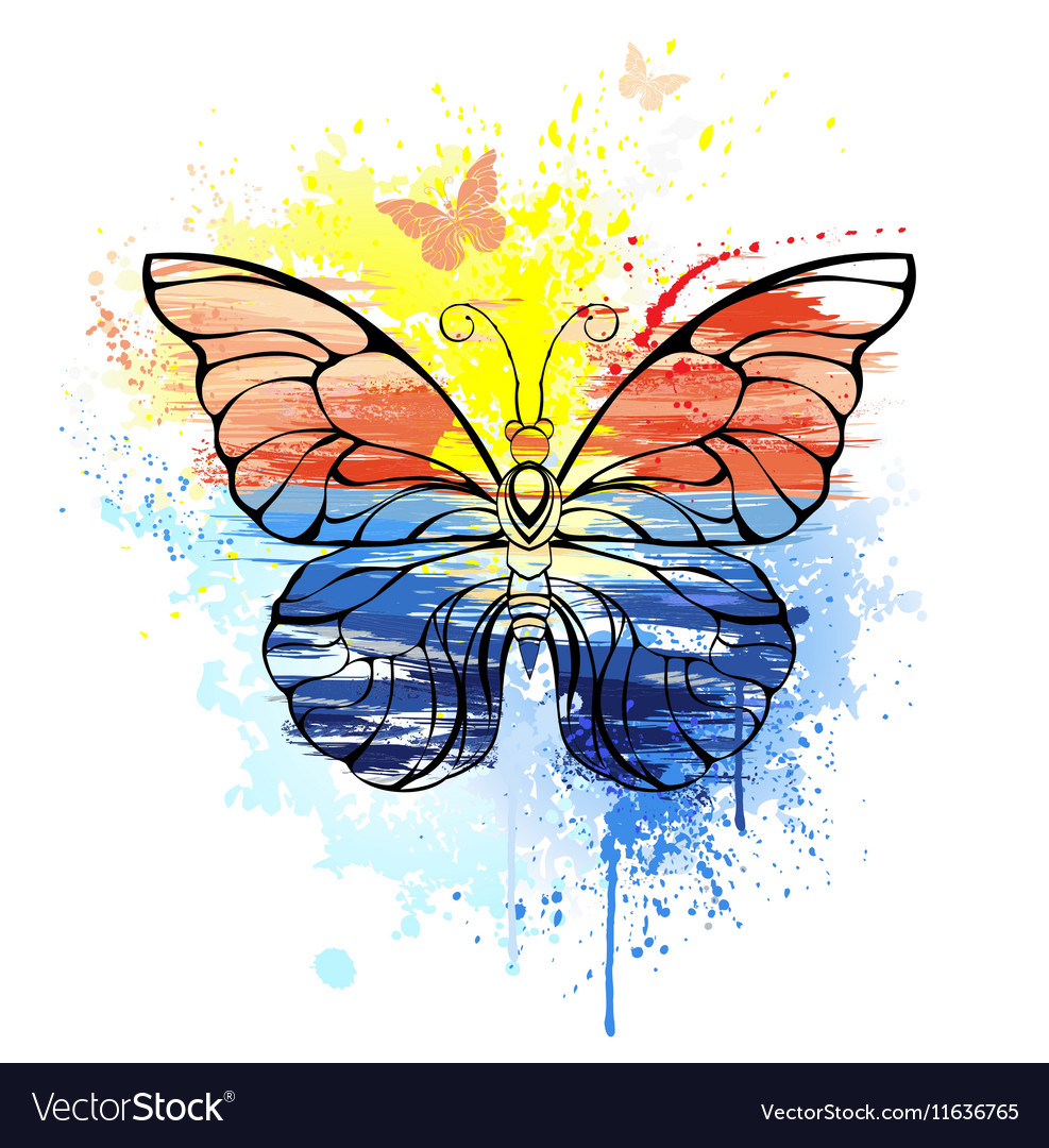Butterfly with painted sea vector