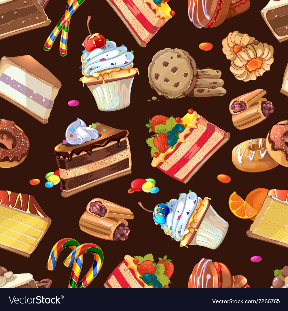 Candy sweets and cakes seamless pattern vector