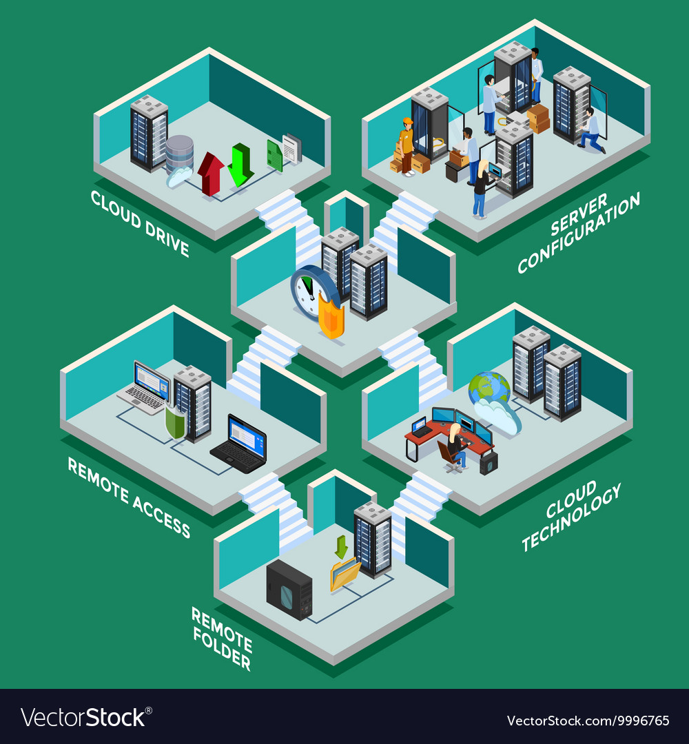 Datacenter isometric concept vector