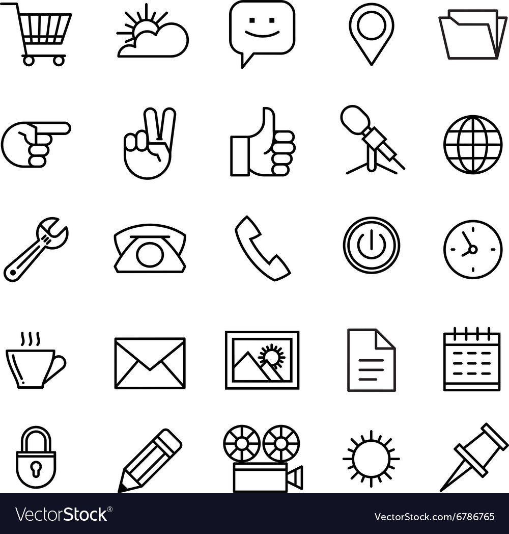 Line phone icons set isolated icons for business vector