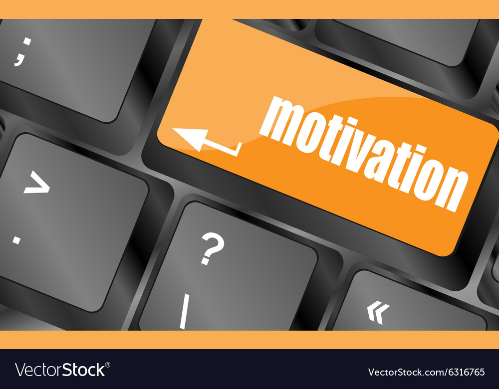 Motivation button on computer keyboard key vector