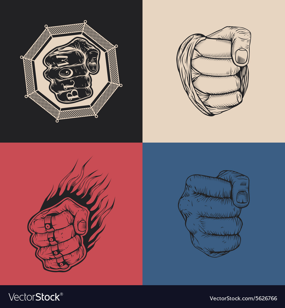 Set of four images with fists vector