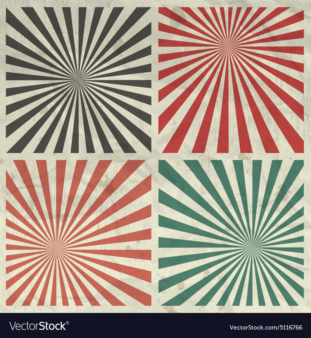 Sunburst grunge background set on crumpled paper vector