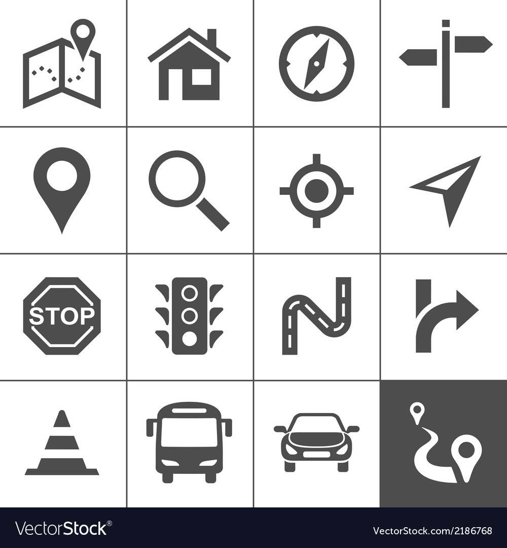 Route planning and transportation icons vector