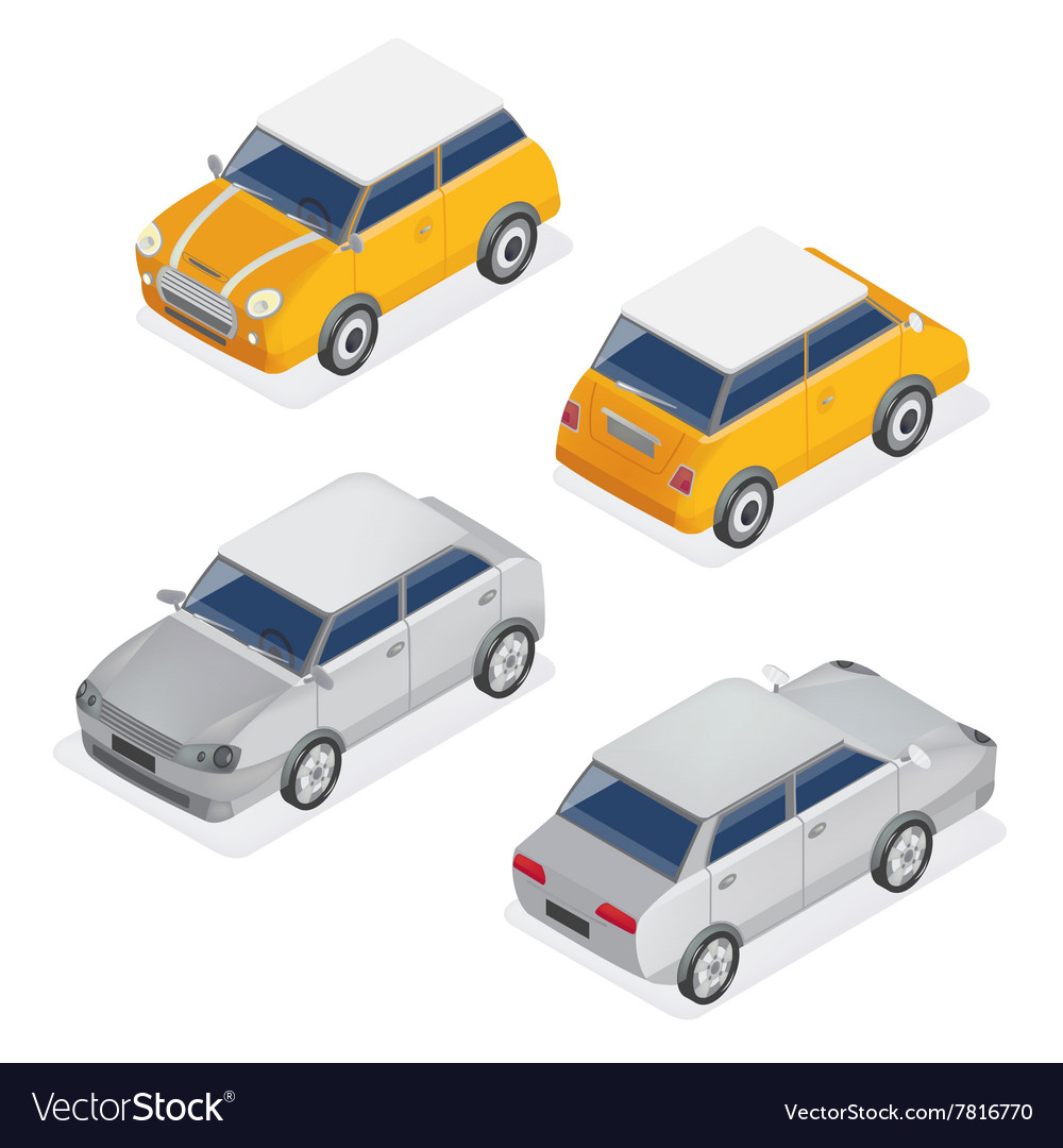 City cars isometric set with mini car and sedan vector