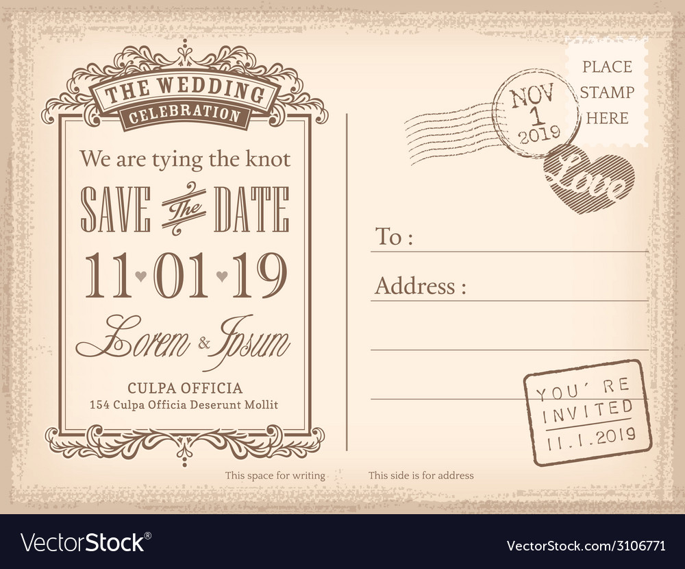 Vintage postcard save the date background vector