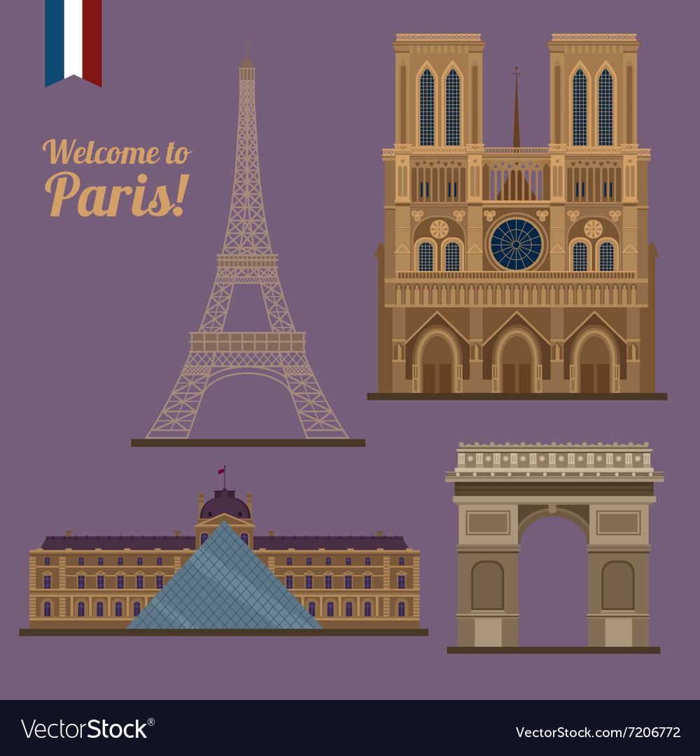 Paris travel set famous places  eiffel tower vector