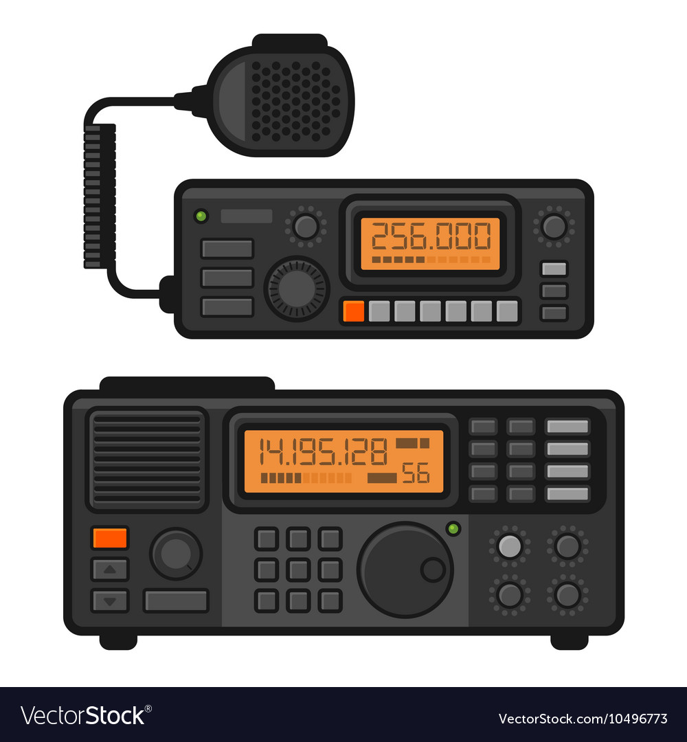 Police car radio transceiver set vector