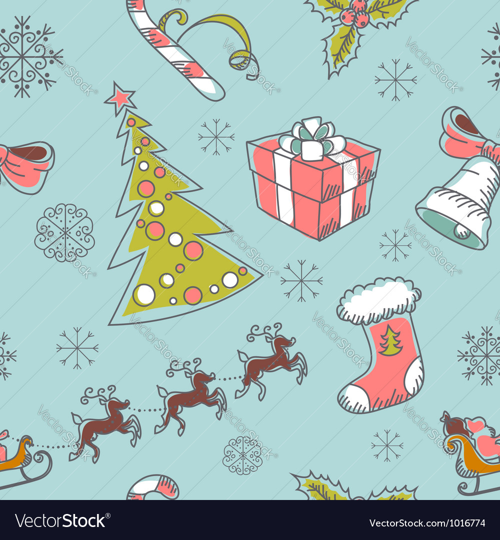 Seamless christmas hand drawn pattern vector
