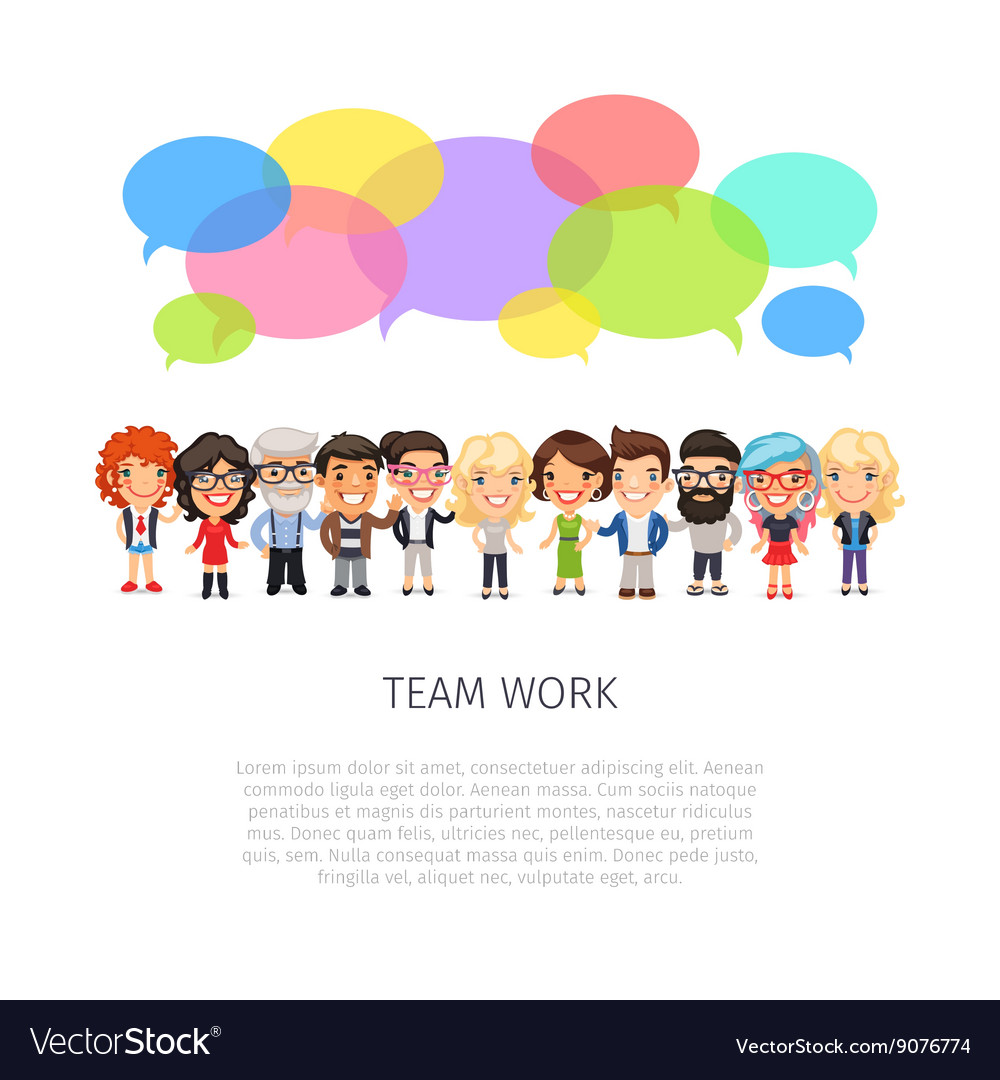 Team work with colorful speech bubbles vector