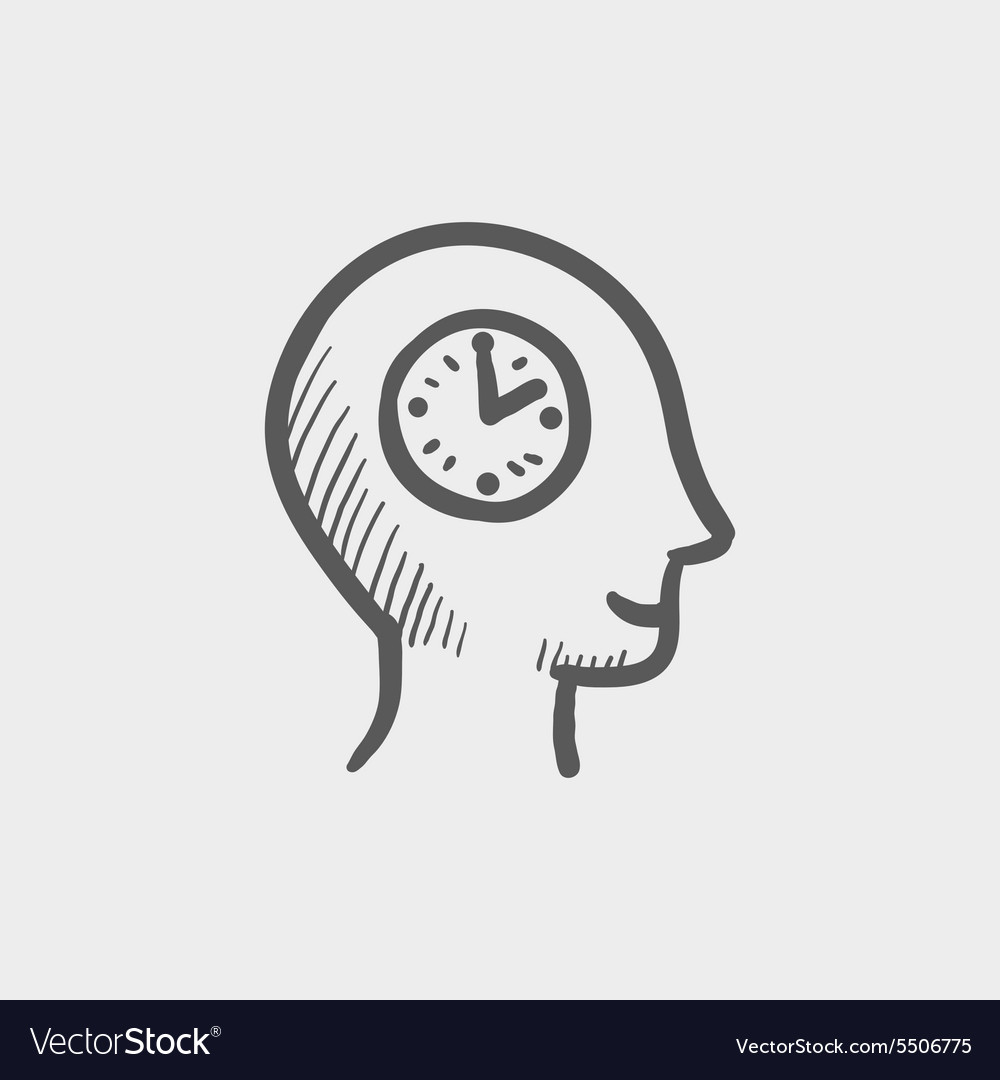 Clock in head sketch icon vector