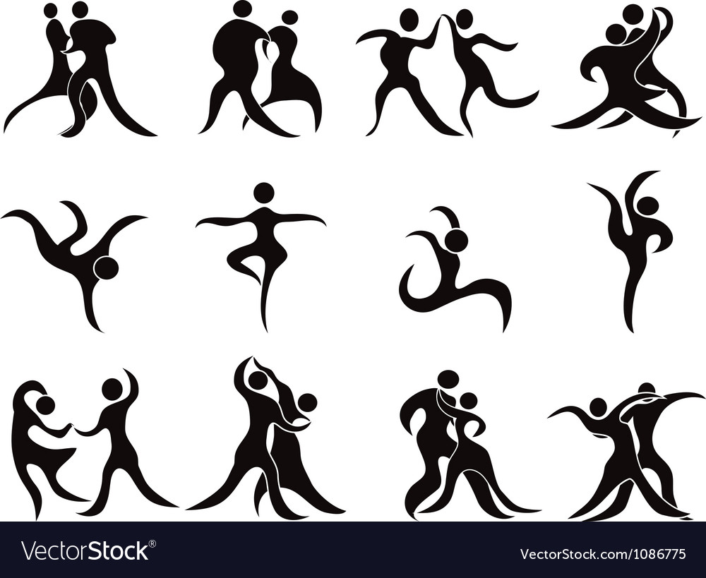 Collection of abstract dancers vector